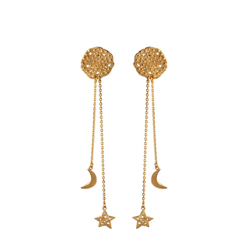 Small cosmic pendant with star and moon on the chain earrings. Gold plated.