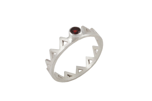 Ring with elements - Fire. Gold plated, red garnet.