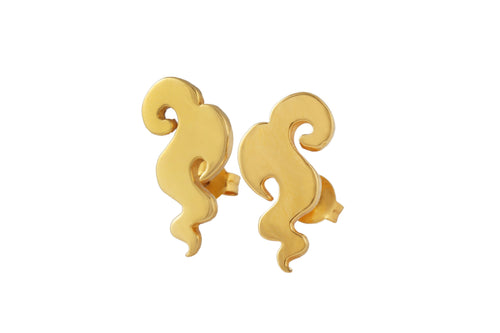 Cloud studs. Gold plated.