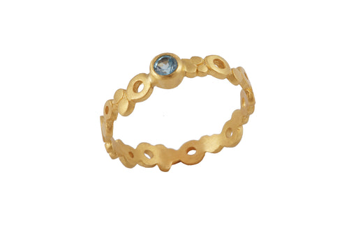 Ring with elements - Air. Gold plated,  blue topaz stone.
