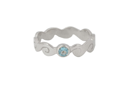 Ring with elements - Water. Silver,  blue topaz.