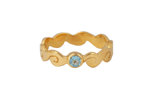 Ring with elements - Water. Gold plated, blue topaz.