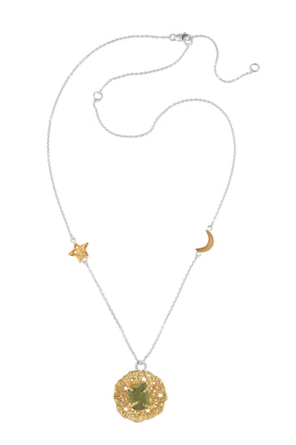 Chain necklace with small runic pendant and rough stone, star and moon, 46 сm. Gold plated and silver.