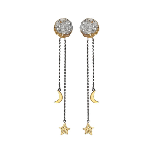 Small cosmic pendant with star and moon on the chain earrings. Partly gold plated.