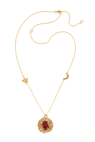 Chain necklace with small runic pendant and rough stone, star and moon, 46 сm.  Gold plated.