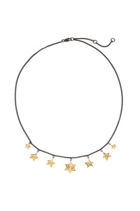 "Chain necklace ""7 stars"" 43 cm, gold plated and oxide."