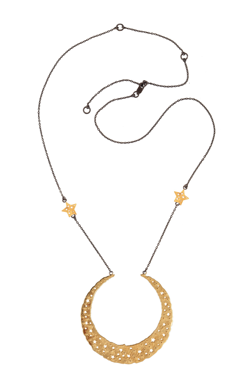Moon queen necklace with large moon pendant, 2 stars on the chain, 75 сm, gold plated and oxide