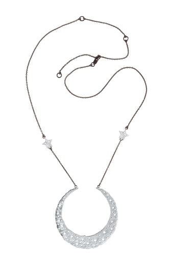 Moon queen necklace with large moon pendant, 2 stars on the chain, 75 сm, silver