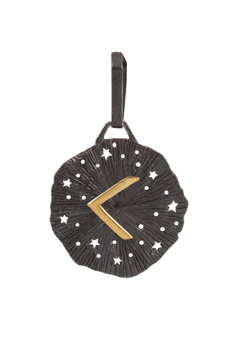 Mens pendant Large runic medallion. Gold plated, oxide.