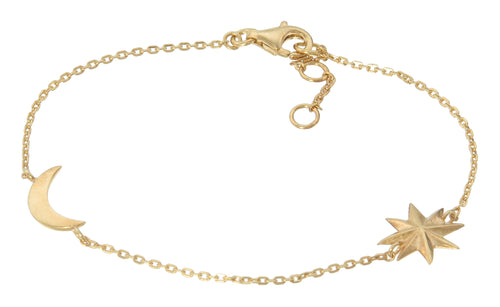 Chain bracelet with moon and star