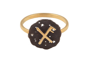 Ring with a small runic pendant Lucky. Gold plated and oxide.
