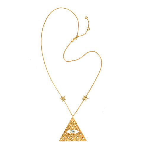 All-seen-eye necklace with 2 stars on the chain. Gold plated.