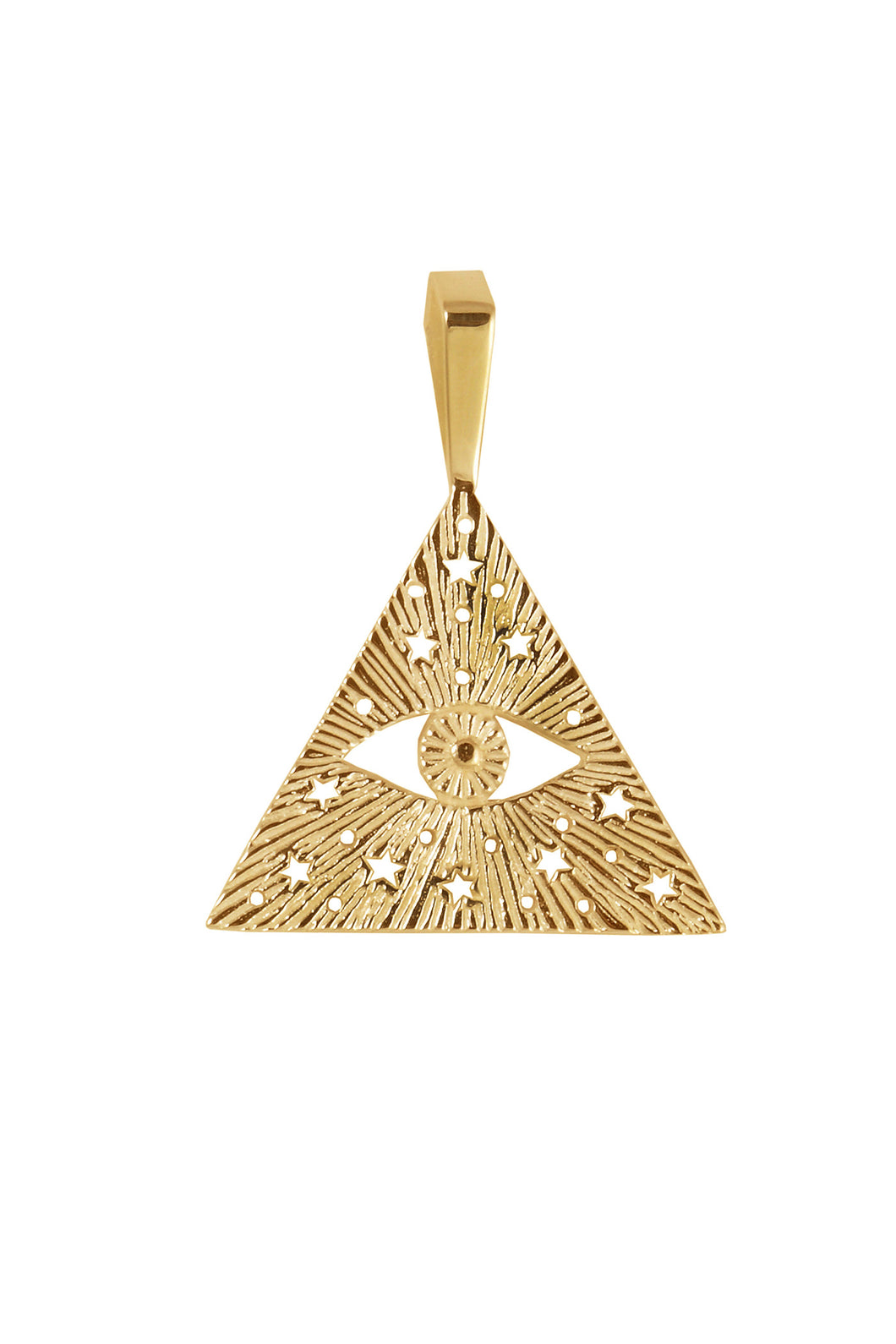 All-seen-eye pendant for men. Gold plated.