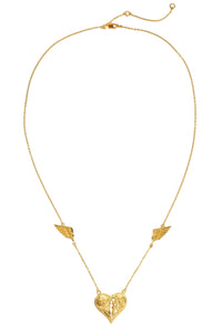 Heart with wings necklace. Gold plated.