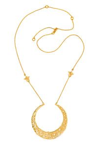 Moon queen necklace with large moon pendant, 2 stars on the chain, 75 сm, gold plated