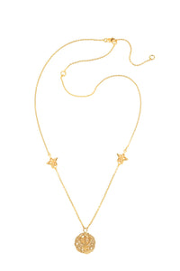 Neptune pendant with stars, 46 cm, gold plated