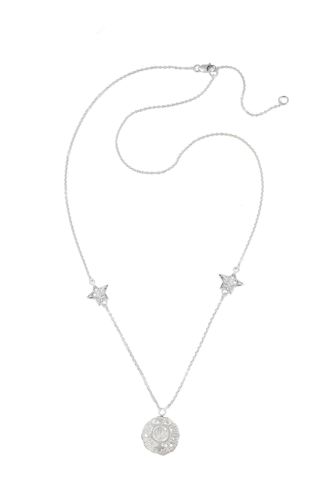 Mercury pendant with stars, 46 sm, Silver