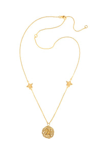 Jupiter pendant with stars, 46 cm, gold plated