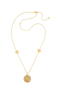 Venus pendant with stars, 46 cm, gold plated