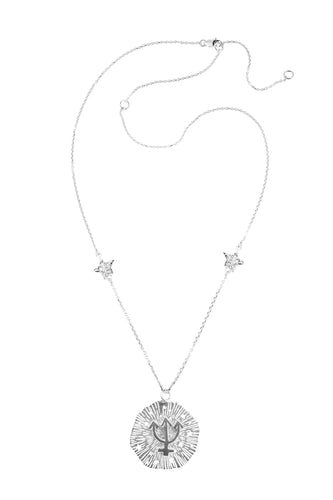 Medium Neptune pendant with stars, 57 sm, Silver