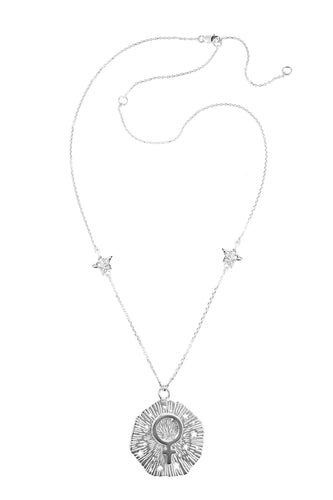Medium Venus pendant with stars, 57 sm, Silver