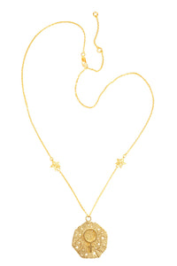 Medium Venus pendant with stars, 57 sm, gold plated
