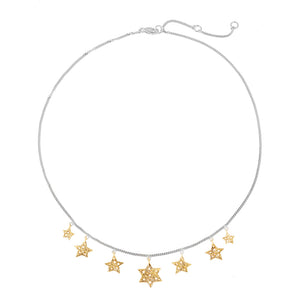 "Chain necklace ""7 stars"" 43 cm, silver, partly gold plated."
