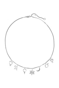 "Choker ""Heavenly Princess"" with planets. Silver."