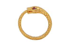 "Ring ""Snake"" 2 stones. Gold plated."