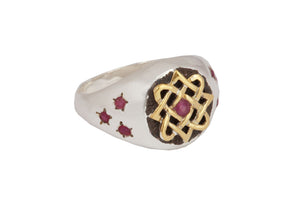 Lada star ring with rubies. Silver.
