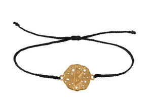 String bracelet with runic medalion amulet Berkana. Gold plated, gold plated and oxide.