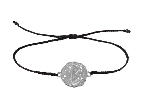 String bracelet with runic medalion amulet Berkana. Silver.
