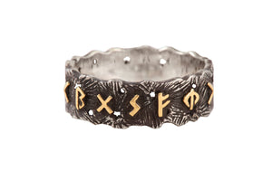 """Business ring"" for men with golden magical runic formula for Business. Silver with golden runic formula, oxide."