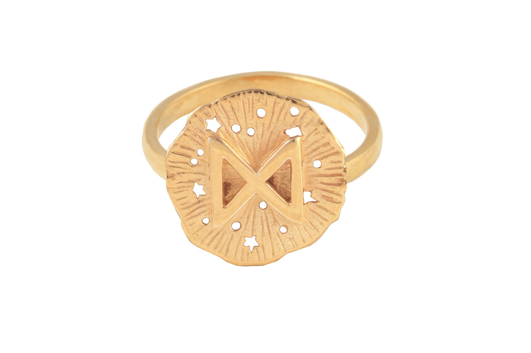Ring with a small runic pendant Dagaz. Gold plated.