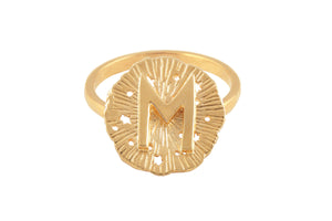 Ring with a small runic pendant Ewaz. Gold plated.