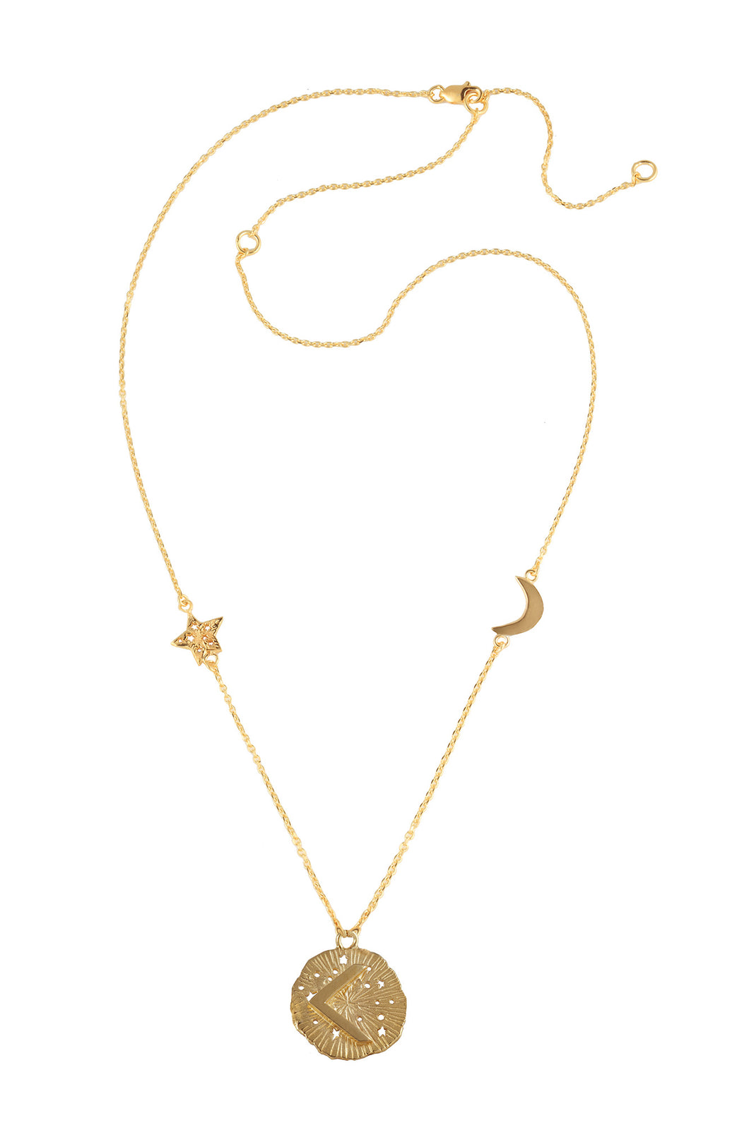 Chain necklace with small runic pendant Kenaz, star and moon, 46 сm. Gold plated.