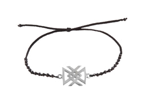 "Beaded semprecious stone bracelet with bind rune ""Health amulet"". Silver."