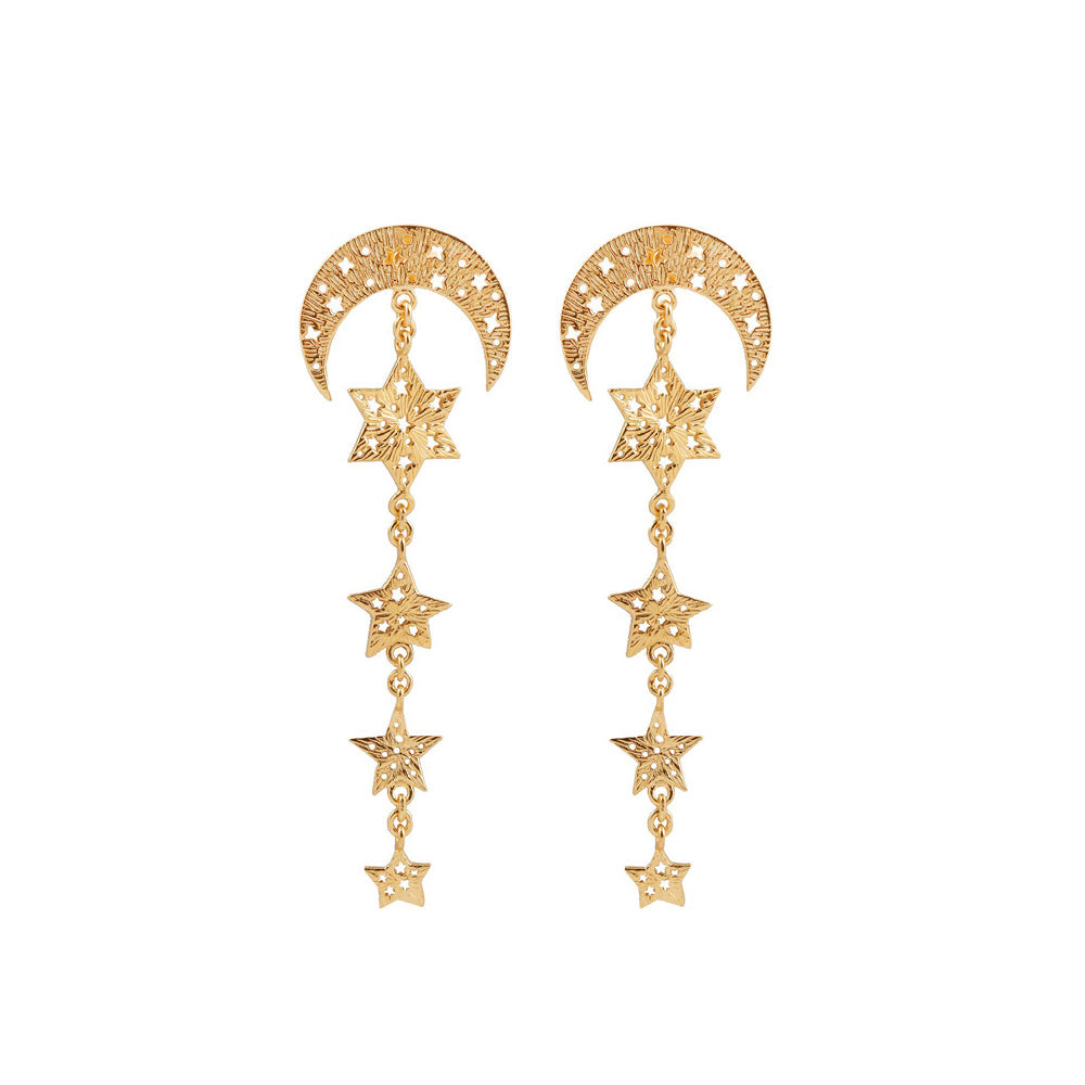 Moon and 4 stars earrings. Gold plated.