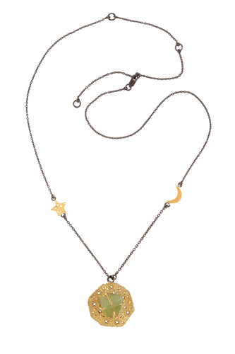 Long chain necklace with big runic pendant and rough stone, star and moon, 70 сm. Gold plated and oxide.