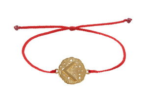 String bracelet with runic medalion amulet Kenaz. Gold plated, gold plated and oxide.