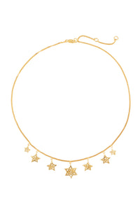 "Chain necklace ""7 stars"" 43 cm, gold plated."