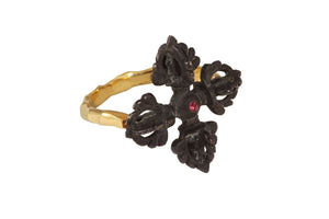Vajra ring. Gold plated, and gold plated and oxide. Pink sapphire.