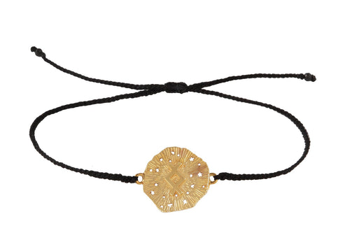 String bracelet with runic medalion amulet Inguz. Gold plated, gold plated and oxide.