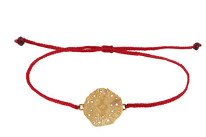 String bracelet with runic medalion amulet Inguz. Gold plated.
