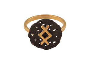 Ring with a small runic pendant Inguz. Gold plated and oxide.