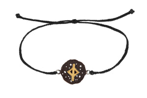 String bracelet with runic medalion amulet Jera. Gold plated, gold plated and oxide.