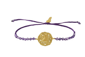 Beaded semiprecious stone bracelet, with Jupiter. Silver, gold plated.