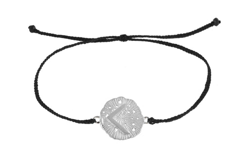 String bracelet with runic medalion amulet Kenaz. Silver.