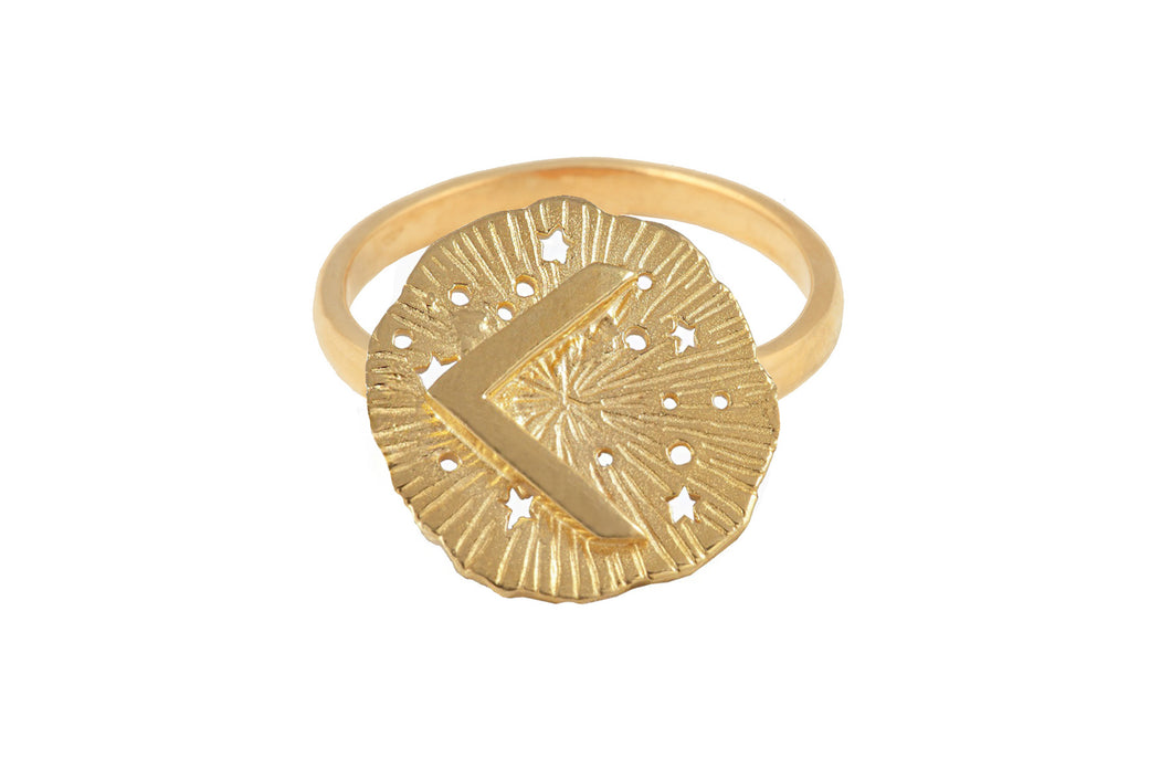 Ring with a small runic pendant Kenaz. Gold plated.
