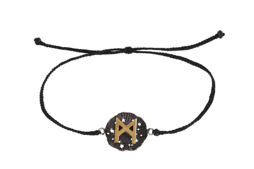 String bracelet with runic medalion amulet Manaz. Gold plated and oxide.